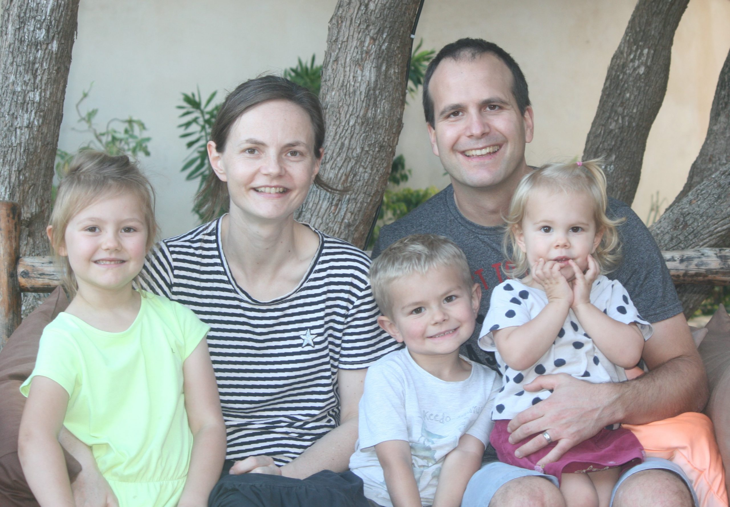 Mr Yoann and Dr Rebecca Escach with their children